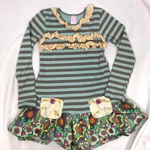 Giggle Moon Kids Girls Dress Size 7 Cotton Striped